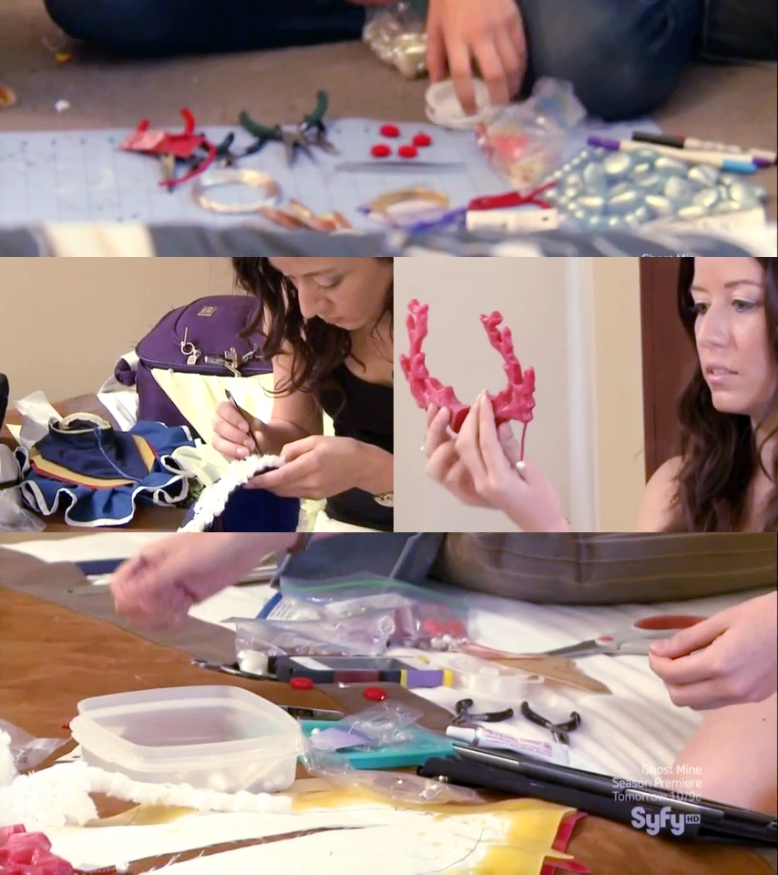 Shots from the episode of Heroes Of Cosplay, of Victoria working on the various details.