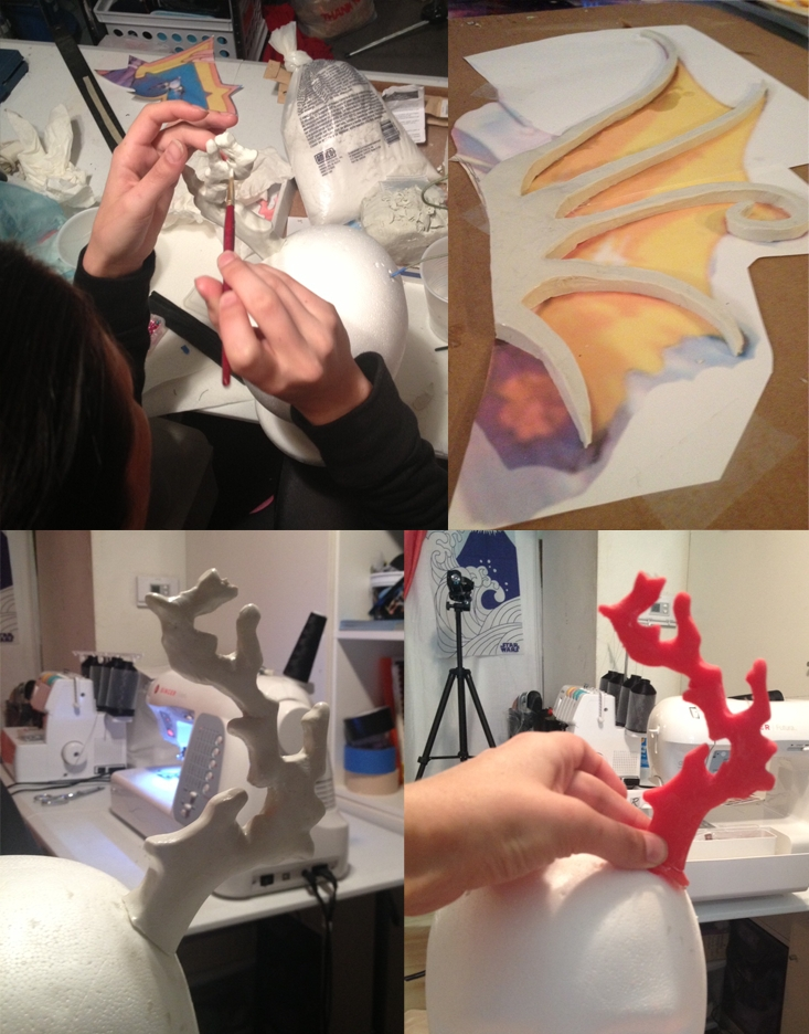 "Victoria sculting the coral ""horns"" and fins out of oil-based clay."